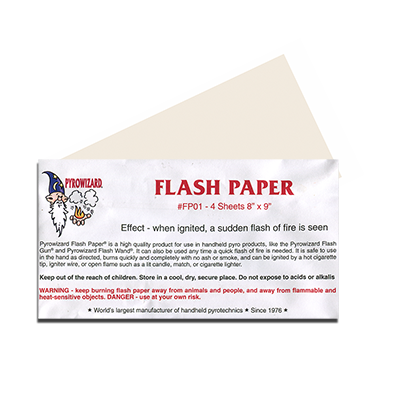 flash paper Magicians flash paper pads produce flames at your finger tips ignites into a brilliant flame when touched by secret magic devices, lighters, or matches.