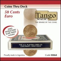 Coins-thru-Deck-50-cent-Euro-by-Tango