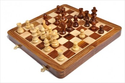 Folding Wooden Magnetic Travel Chess Set - 12 inch