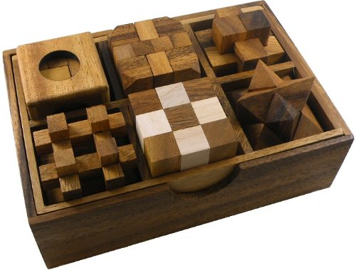 6 Wooden Puzzle Gift Set In A Wooden Box