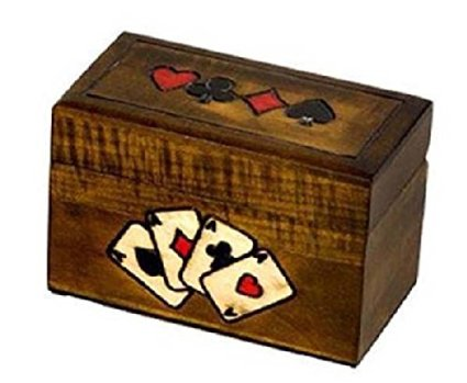 Traditional Four Aces Poker Card Holder Box