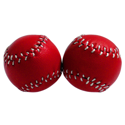 Chop Cup Balls Red Leather (Set of 2) by Leo Smesters