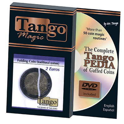 Folding Coin - 2  Euros (Traditional w/DVD) by Tango Magic
