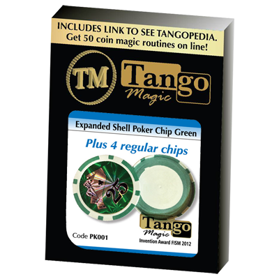 Expanded Shell Poker Chip Green (plus 4 Regular Chips) by Tango magic