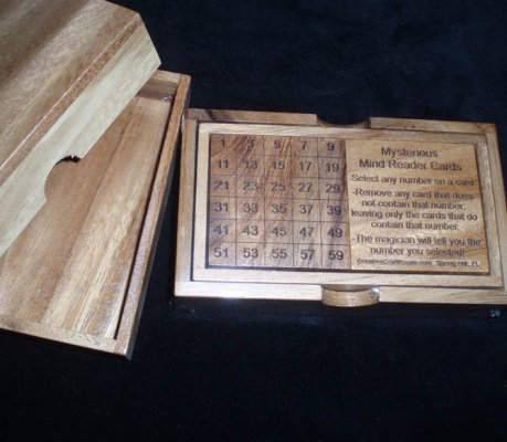 Mysterious Mind Reader Cards in wood box