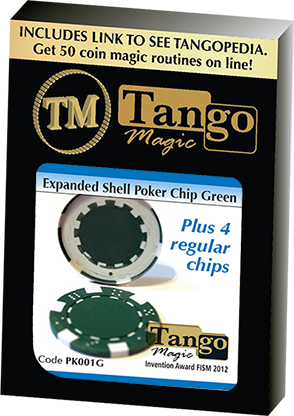 Expanded Shell Poker Chip plus 4 Regular Chips  by Tango magic
