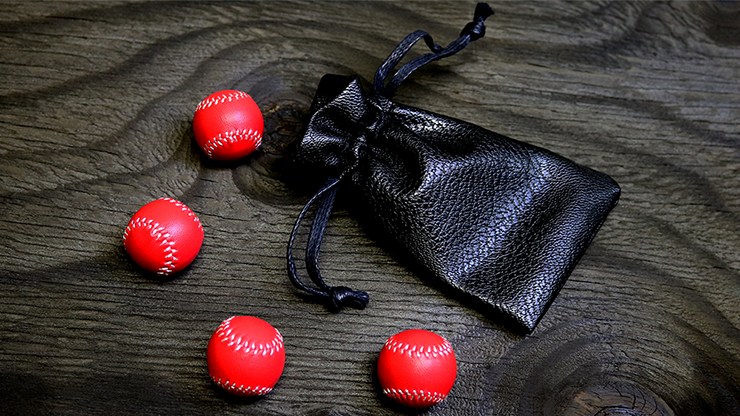 Set of 4 Leather Balls for Cups and Balls (Red) by Leo Smetsers
