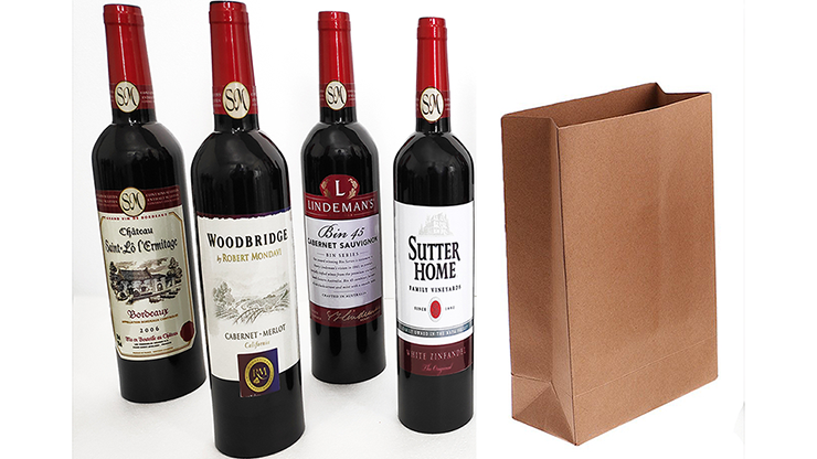 Wine Bottles From Paper Bag (4 Bottles) by Tora Magic
