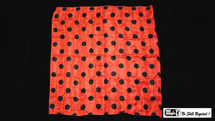 Polka Dot Hanky, Black on Red