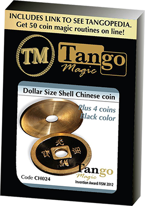 Dollar Size Shell Chinese Coin (Black) by Tango Magic