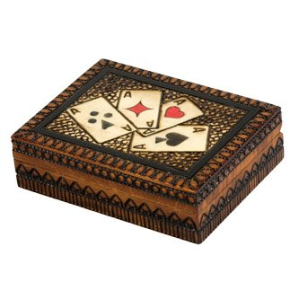 Four Aces Square Wooden Card Holder Box