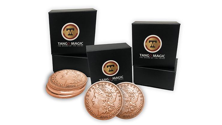 Copper-Morgan-Expanded-Shell-plus-4-four-Regular-Coins-Gimmicks-and-Online-Instructions-by-Tango-Magic